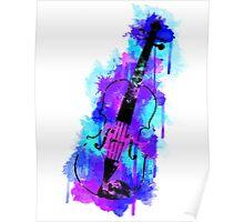 Watercolor Violin (Black Version) Poster