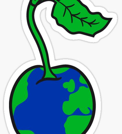 cherry earth planet water continents funny Sticker