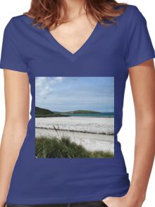 White Sands and Blue Sky - Seilebost Beach Women's Fitted V-Neck T-Shirt
