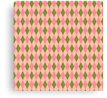 Pink and Green Girlie Preppy Argyle Pattern Canvas Print