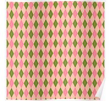 Pink and Green Girlie Preppy Argyle Pattern Poster