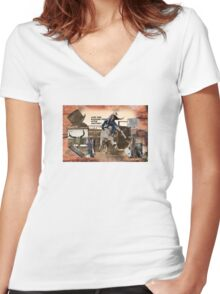 BUCK OUT Women's Fitted V-Neck T-Shirt