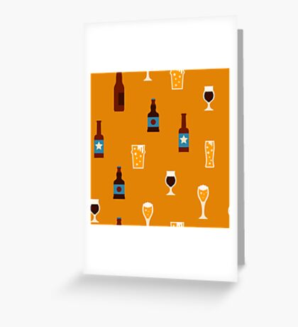 Craft beer glass and bottle icons Greeting Card