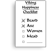 Viking Happiness Checklist Canvas Print