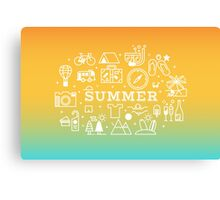 Summer concept line icons illustration Canvas Print