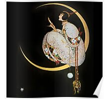 Deco Lady Moon Poster