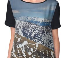 Mountain range in the spring Chiffon Top