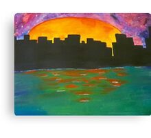 The Sun Sets Behind the City  Canvas Print