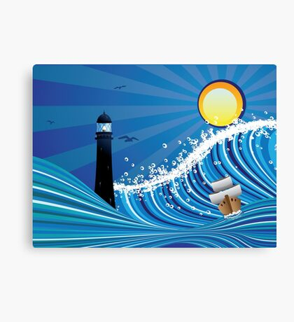 Lighthouse and Boat in the Sea 4 Canvas Print