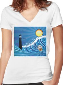 Lighthouse and Boat in the Sea 4 Women's Fitted V-Neck T-Shirt