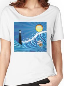 Lighthouse and Boat in the Sea 4 Women's Relaxed Fit T-Shirt