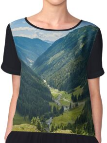 Mountain valley in a summer day Chiffon Top
