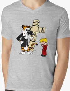 CROSS CALVIN & HOBBES Mens V-Neck T-Shirt