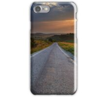 Road through corn fields at sunset iPhone Case/Skin