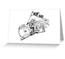 WORK HARD - Knight Riding a Vintage Circular Saw Greeting Card