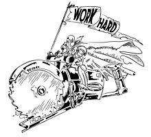 WORK HARD - Knight Riding a Vintage Circular Saw Photographic Print
