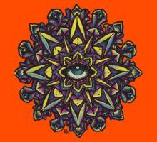 Dharma Wheel Neon Mandala Kids Tee