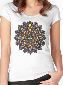 Dharma Wheel Neon Mandala Women's Fitted Scoop T-Shirt