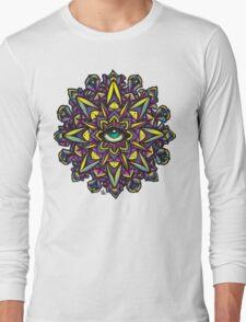 Dharma Wheel Neon Mandala Long Sleeve T-Shirt