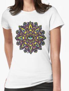 Dharma Wheel Neon Mandala Womens Fitted T-Shirt
