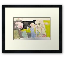 Girl with Blue Cat or Radioactive Bathing Scene Framed Print