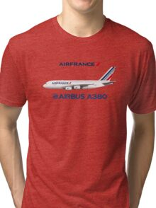 Illustration of Air France Airbus A380  Tri-blend T-Shirt