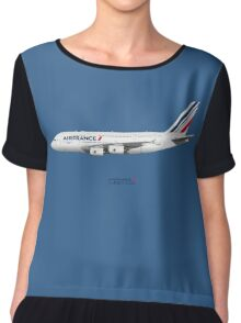 Illustration of Air France Airbus A380 - Blue Version Chiffon Top