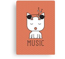 Cat Music Mode Canvas Print