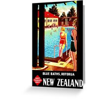 New Zealand Rotorua Vintage Poster Restored Greeting Card