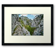 Rocky trail on mountains Framed Print