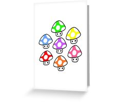 Colorful Mario Mushrooms Greeting Card