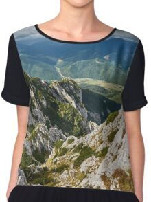 Landscape with mountains and clouds Chiffon Top