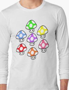 Colorful Mario Mushrooms Long Sleeve T-Shirt