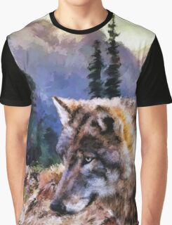 Wolf And Nature Graphic T-Shirt