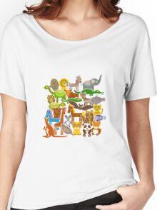 Cartoon animals on beige Women's Relaxed Fit T-Shirt