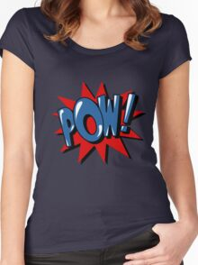 Comics Bubble with Expression Pow in Vintage Style. Women's Fitted Scoop T-Shirt