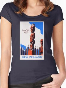 New Zealand Maori Art Vintage Poster Restored Women's Fitted Scoop T-Shirt