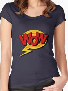 Comics Bubble with Expression Wow in Vintage Style. Women's Fitted Scoop T-Shirt