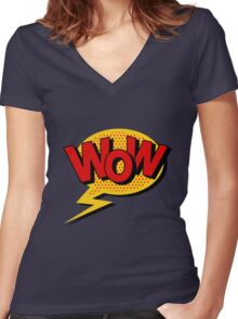 Comics Bubble with Expression Wow in Vintage Style. Women's Fitted V-Neck T-Shirt