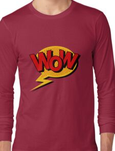 Comics Bubble with Expression Wow in Vintage Style. Long Sleeve T-Shirt