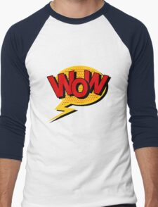 Comics Bubble with Expression Wow in Vintage Style. Men's Baseball ¾ T-Shirt