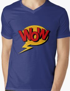 Comics Bubble with Expression Wow in Vintage Style. Mens V-Neck T-Shirt
