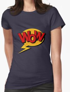Comics Bubble with Expression Wow in Vintage Style. Womens Fitted T-Shirt