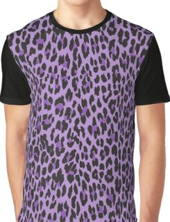 Animal Print, Spotted Leopard - Purple Black Graphic T-Shirt