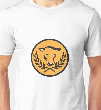 Cow Bull Head Laurel Circle Retro Unisex T-Shirt