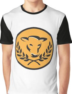 Cow Bull Head Laurel Circle Retro Graphic T-Shirt