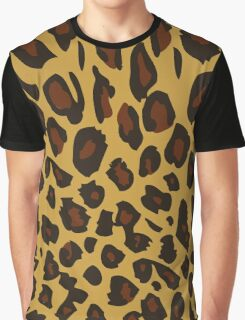Animal Print, Spotted Leopard - Brown Black Graphic T-Shirt