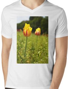 yellow and pink tulips Mens V-Neck T-Shirt