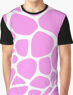 Animal Print (Giraffe Pattern) - Pink White  Graphic T-Shirt