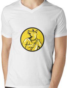 Dingo Dog Welder Circle Retro Mens V-Neck T-Shirt